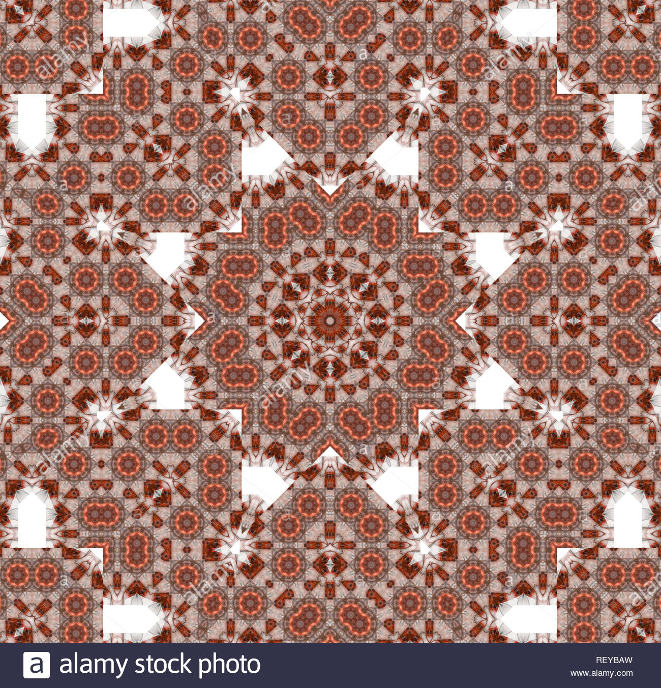 Ornaments generated by computer as a symmetrical background. Multicolor texture. Stock Photo