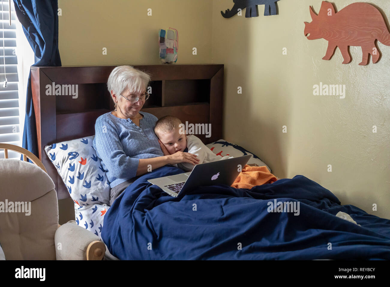Denver, Colorado - Susan Newell, 70, and her four-year-old grandson, Adam Hjermstad Jr., look at pictures of animals on a laptop computer. - Stock Image