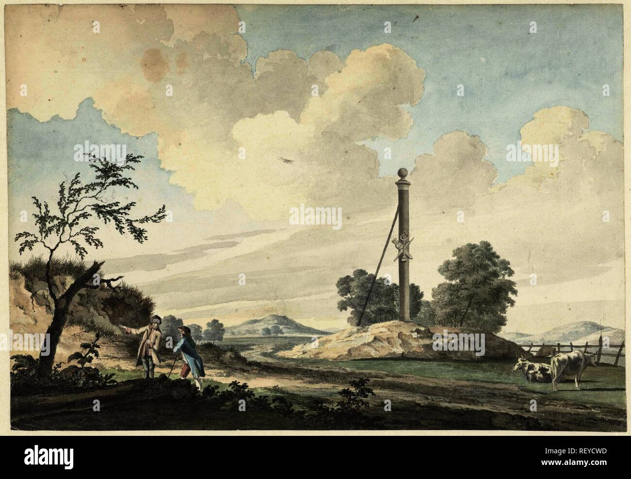 Landscape near the dunes with a milestone and two walkers. Draughtsman: Gerrit Toorenburgh. Dating: 1765. Measurements: h 237 mm × w 340 mm. Museum: Rijksmuseum, Amsterdam. Stock Photo