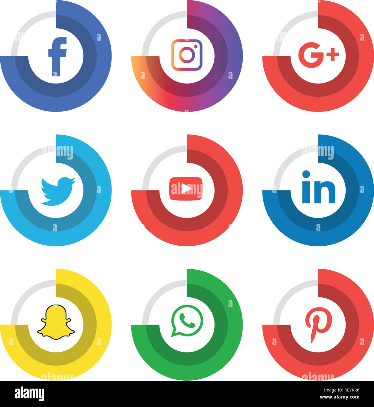Social Media Icons Set Logo Vector Illustrator Facebook