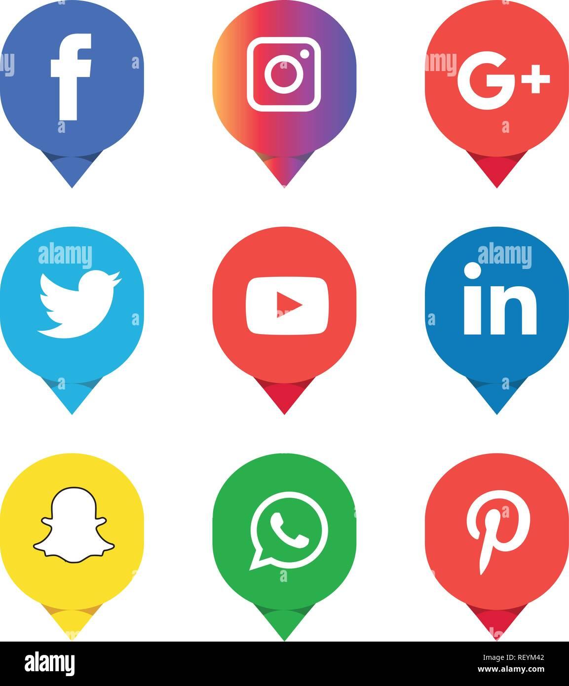 d914f73a35ec Social media icons set Logo Vector Illustrator facebook, instagram,  twitter, whatsapp, google plus, google+, pinterest, linkedin, vector,  black, white