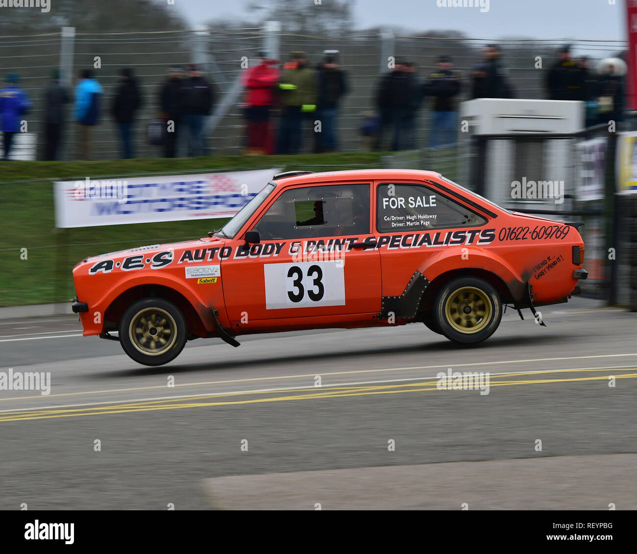 Martin Page, Hugh Holdaway, Ford Escort, MGJ Rally Stages, Chelmsford Motor Club, Brands Hatch,  Saturday, 19th January 2019, MSV, Circuit Rally Champ - Stock Image