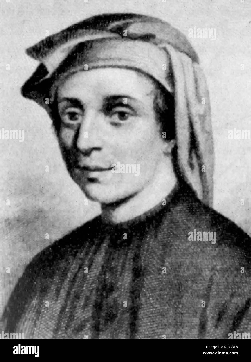 Leonardo Fibonacci, the Italian mathematician who introduced the Hindu–Arabic numeral system invented between the 1st and 4th centuries by Indian mathematicians, to the Western World - Stock Image