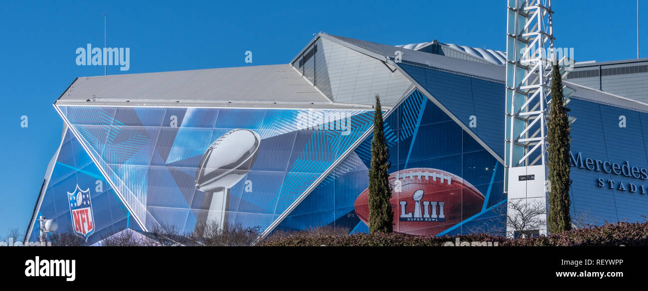 Panoramic view of Mercedes-Benz Stadium in Atlanta, Georgia, home of the NFL's Super Bowl LIII. (USA) - Stock Image