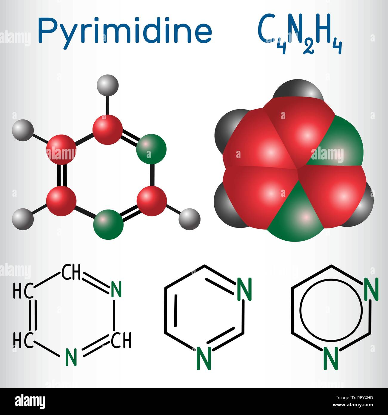 Pyrimidine molecule, is an aromatic heterocyclic organic compound. Structural chemical formula and molecule model. Vector illustration - Stock Image