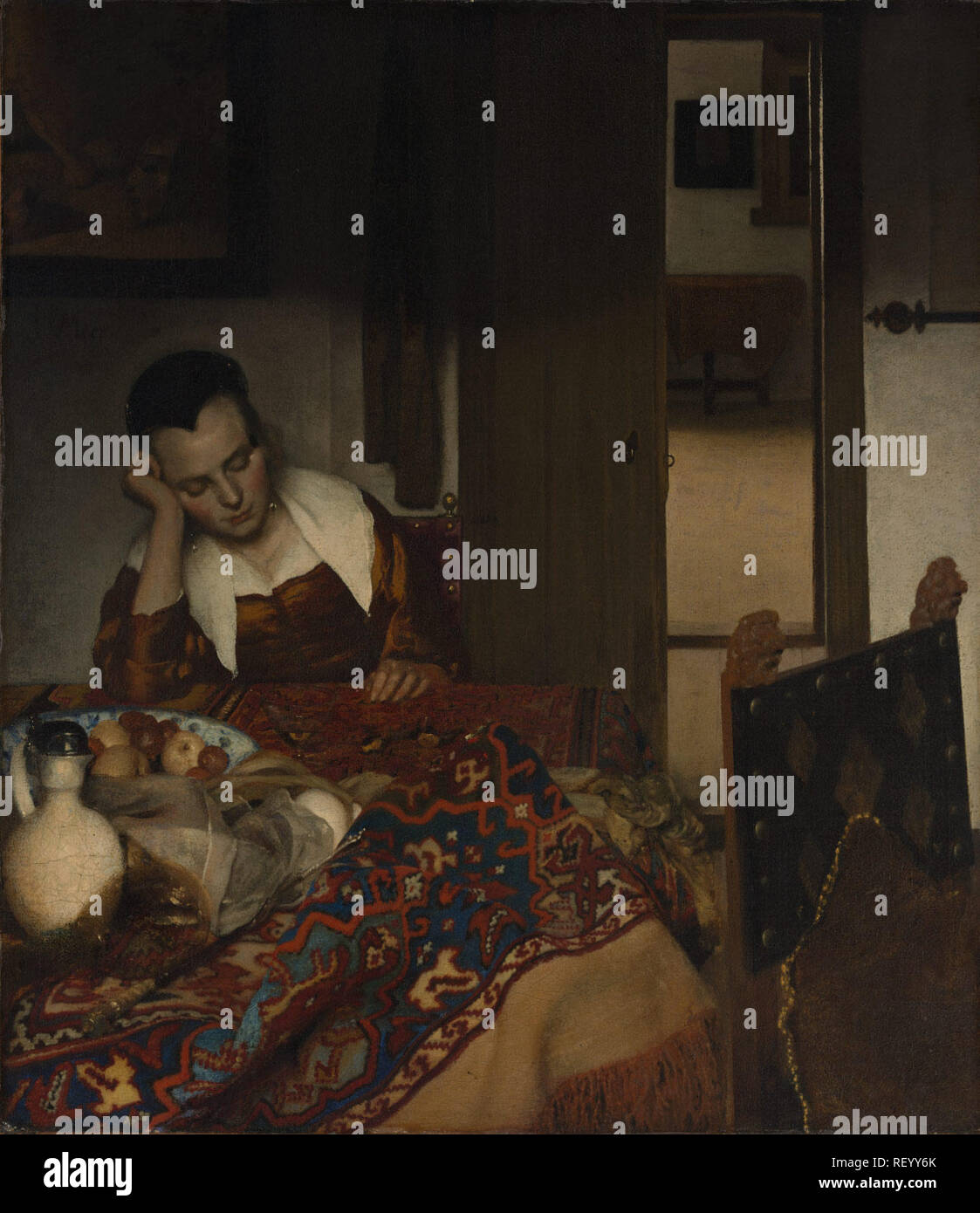 Working Title/Artist: A Maid Asleep Department: European Paintings Culture/Period/Location:  HB/TOA Date Code:  Working Date: 1656-57 photography by mma, DP145904.tif touched by film and media (jnc) 8_24_09 - Stock Image
