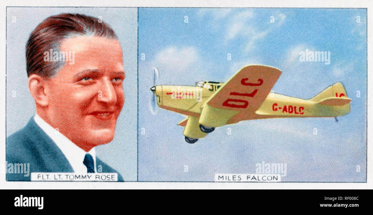 MANX AIR DERBY 1947. Cigarette card showing race winner RAF pilot Tommy Rose in a Miles Falcon TK-2 which had won pre-war races - Stock Image