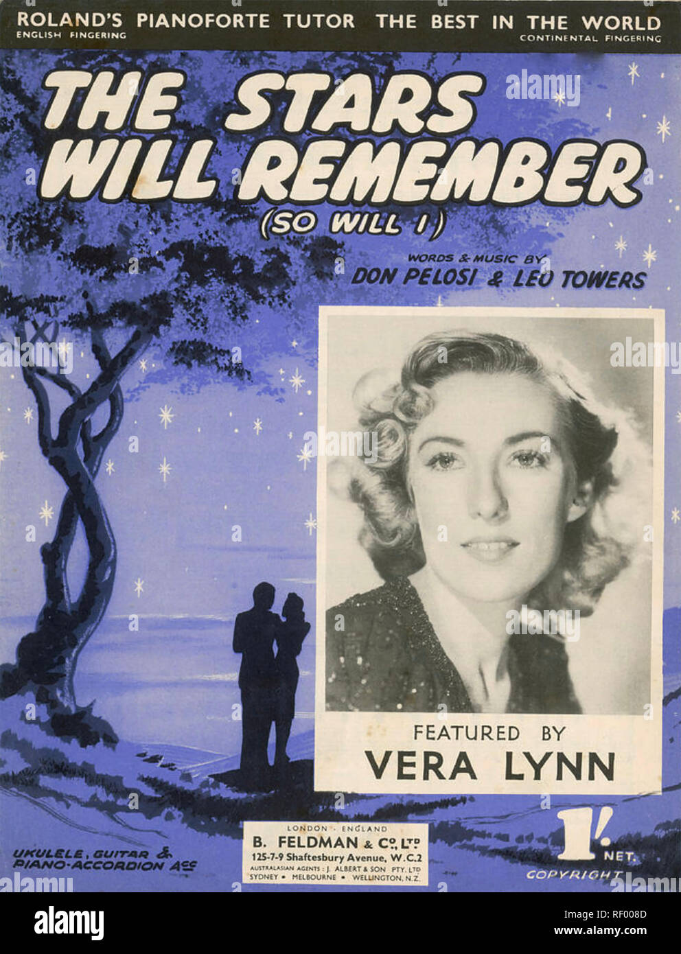 VERA LYNN English popular music singer on the sheet music cover of her 1946 recording of The Stars Will Remember - Stock Image