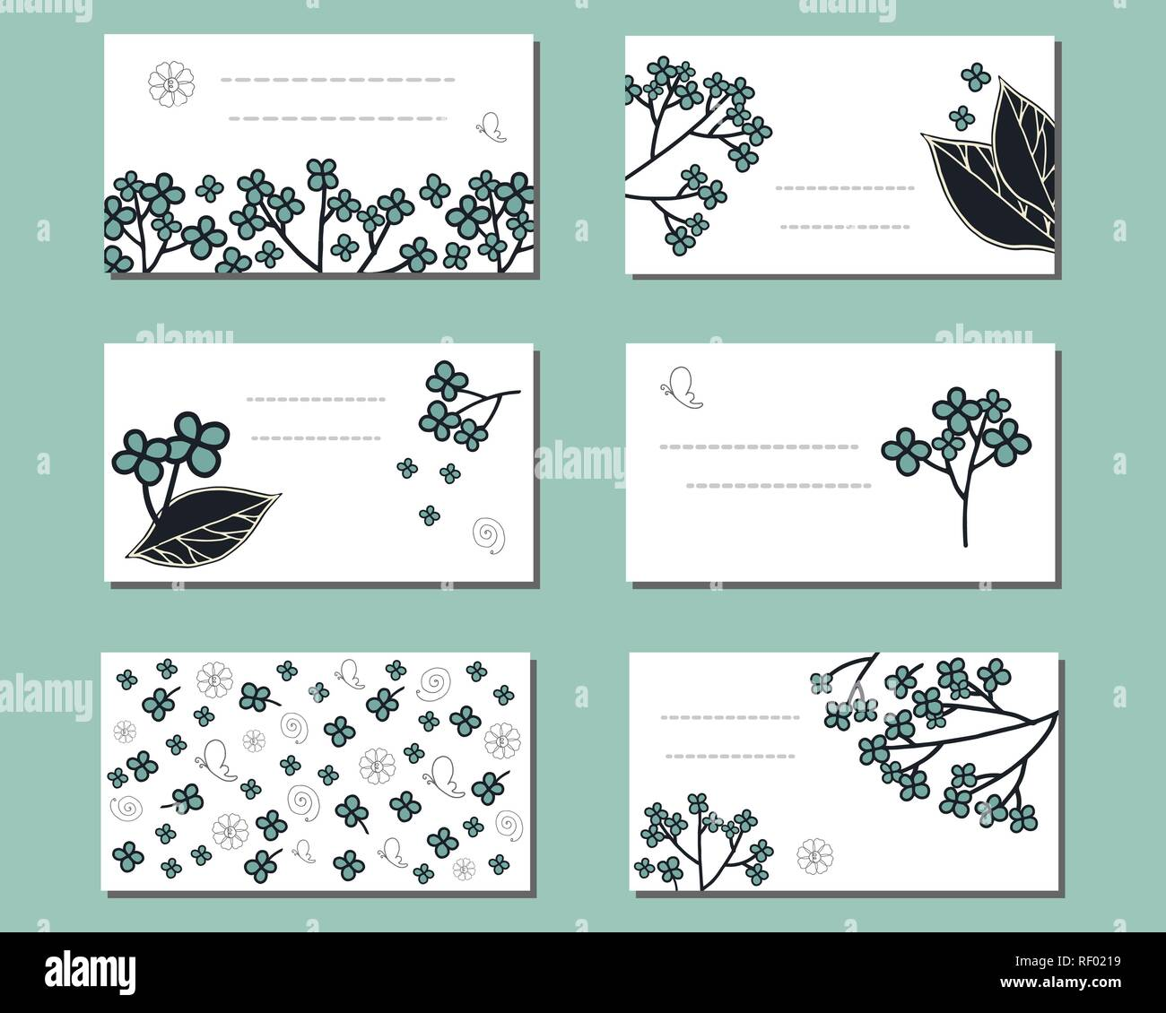 Floral Templates With Cute Bunches Of Doodle Flowers For Design