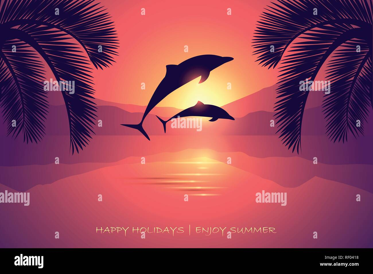 summer holiday postcard sunset sea dolphins and palm vector illustration EPS10 - Stock Vector