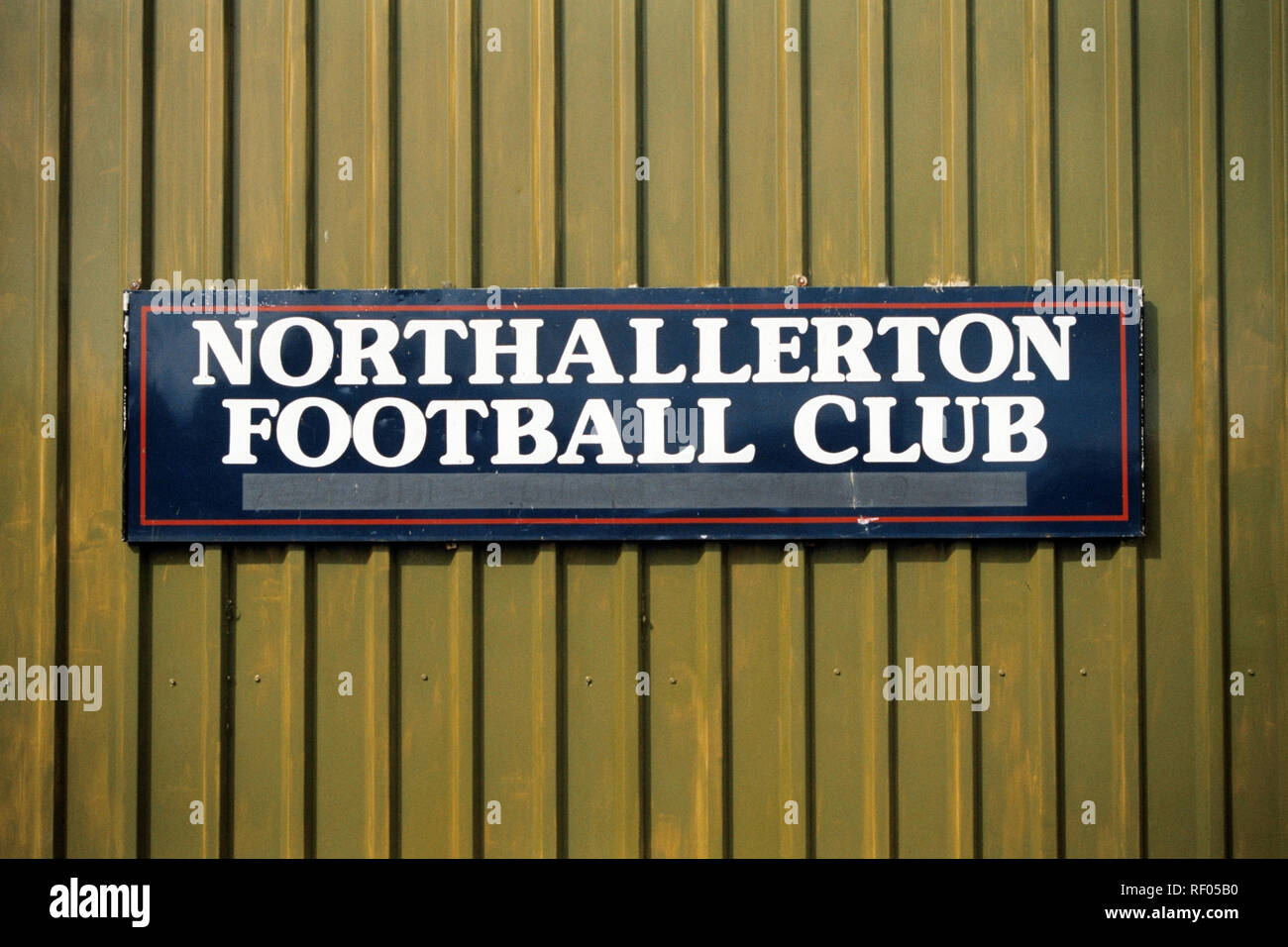 Signage at Northallerton Town FC Football Ground, Ainderby Road, Romanby, Northallerton, North Yorkshire, pictured on 2nd April 1994 Stock Photo