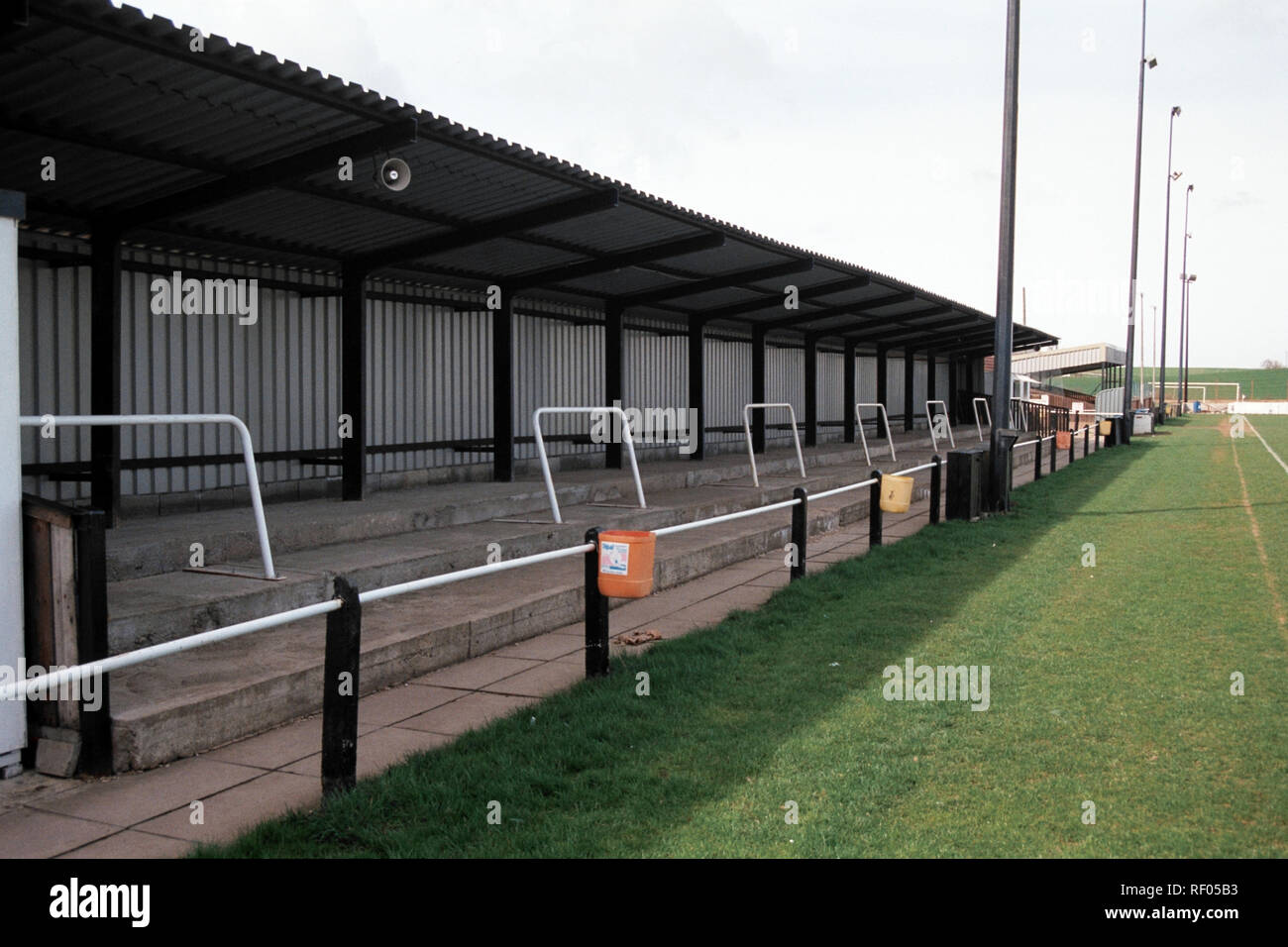 Covered terracing at Northallerton Town FC Football Ground, Ainderby Road, Romanby, Northallerton, North Yorkshire, pictured on 2nd April 1994 Stock Photo