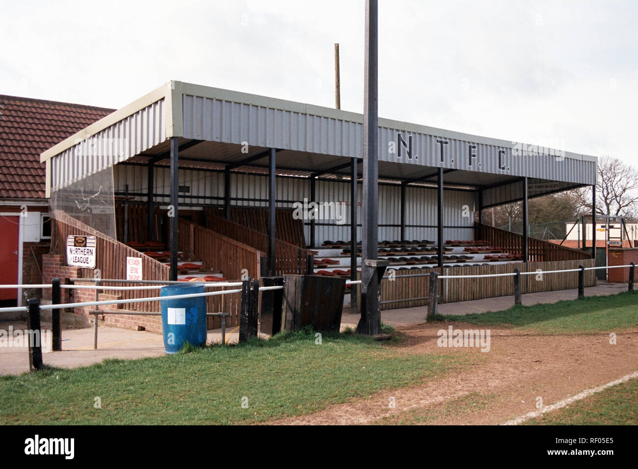 The main stand at Northallerton Town FC Football Ground, Ainderby Road, Romanby, Northallerton, North Yorkshire, pictured on 2nd April 1994 Stock Photo