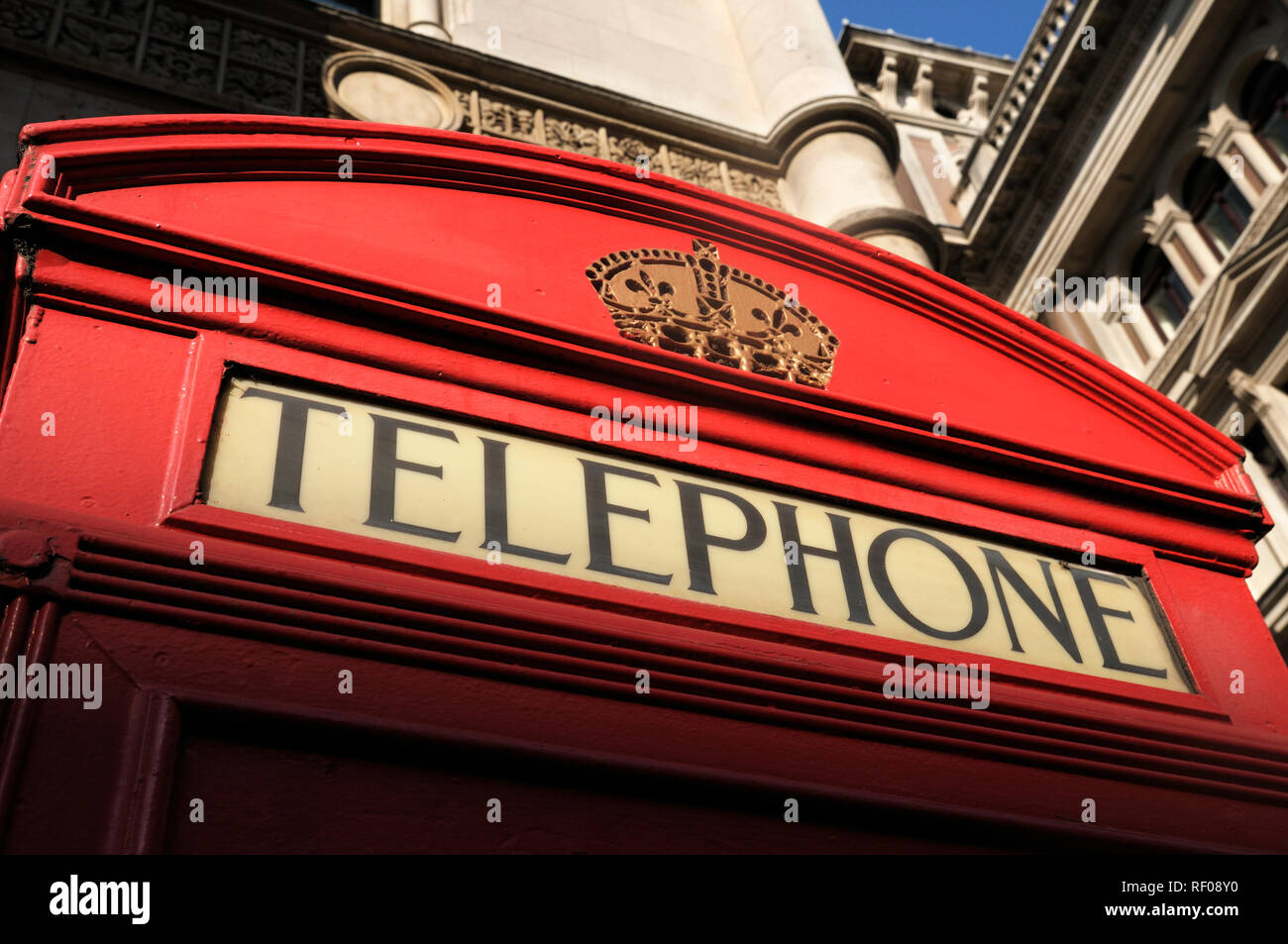 Red telephone booth (iconic K2 kiosk designed by Sir Giles Gilbert Scott), London, England, UK - Stock Image
