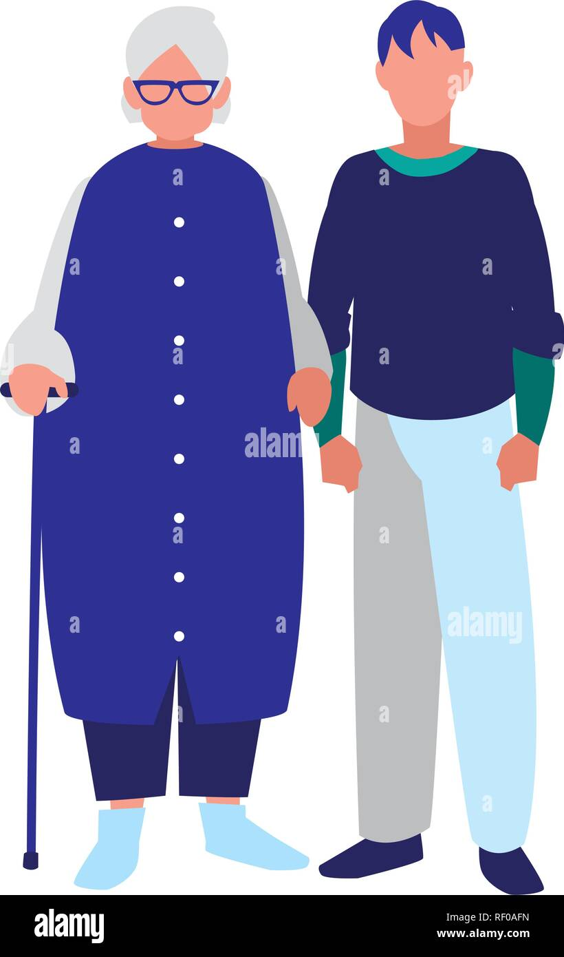 cute grandmother with son characters vector illustration design - Stock Image