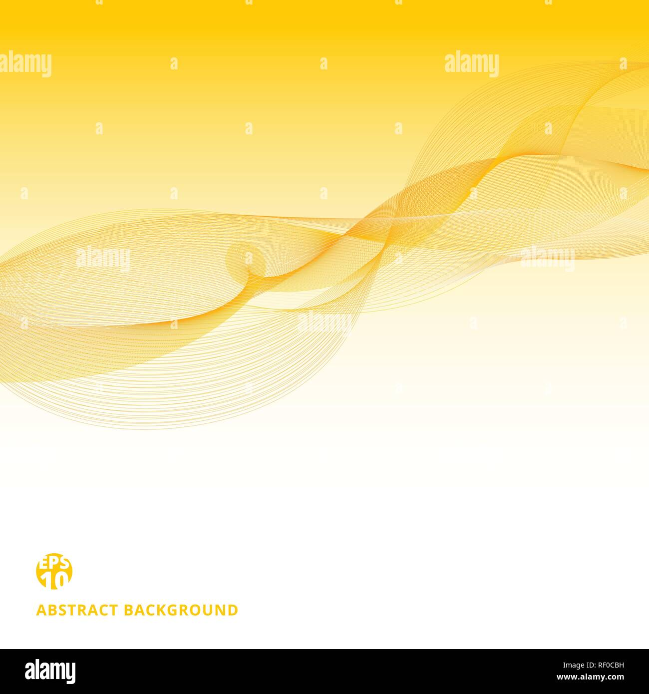 Abstract yellow lines waves pattern on white background. Data stream concept. Vector illustration - Stock Image