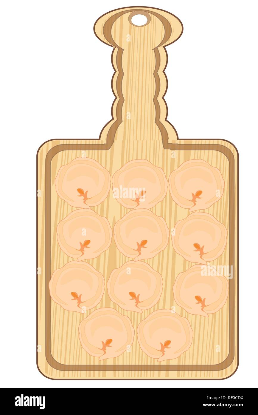 Blinded damp meat dumplings on kitchen board on white background is insulated - Stock Vector