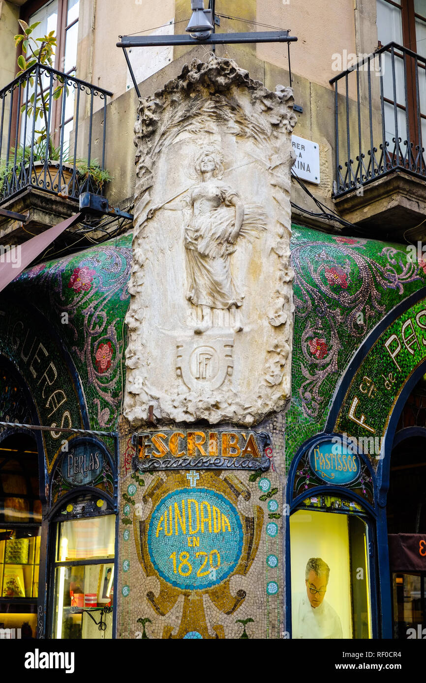 Beautiful art nouveau storefront with on Escribá Patisserie on La Rambla ,Barcelona, Spain. - Stock Image