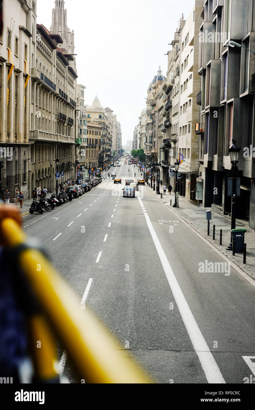 View from open top tourist bus in Barcelona Spani - Stock Image