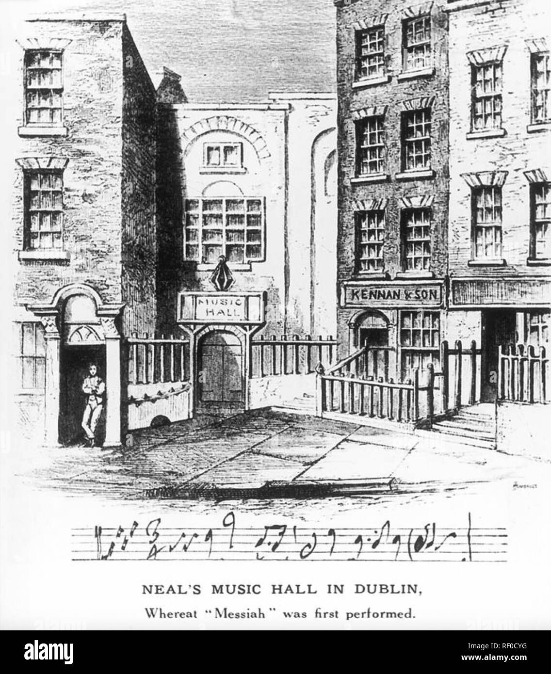 NEAL'S MUSICK HALL,Fishable Street,Dublin. Handel's Messiah received its first performance here on 13th  April 1742 Stock Photo