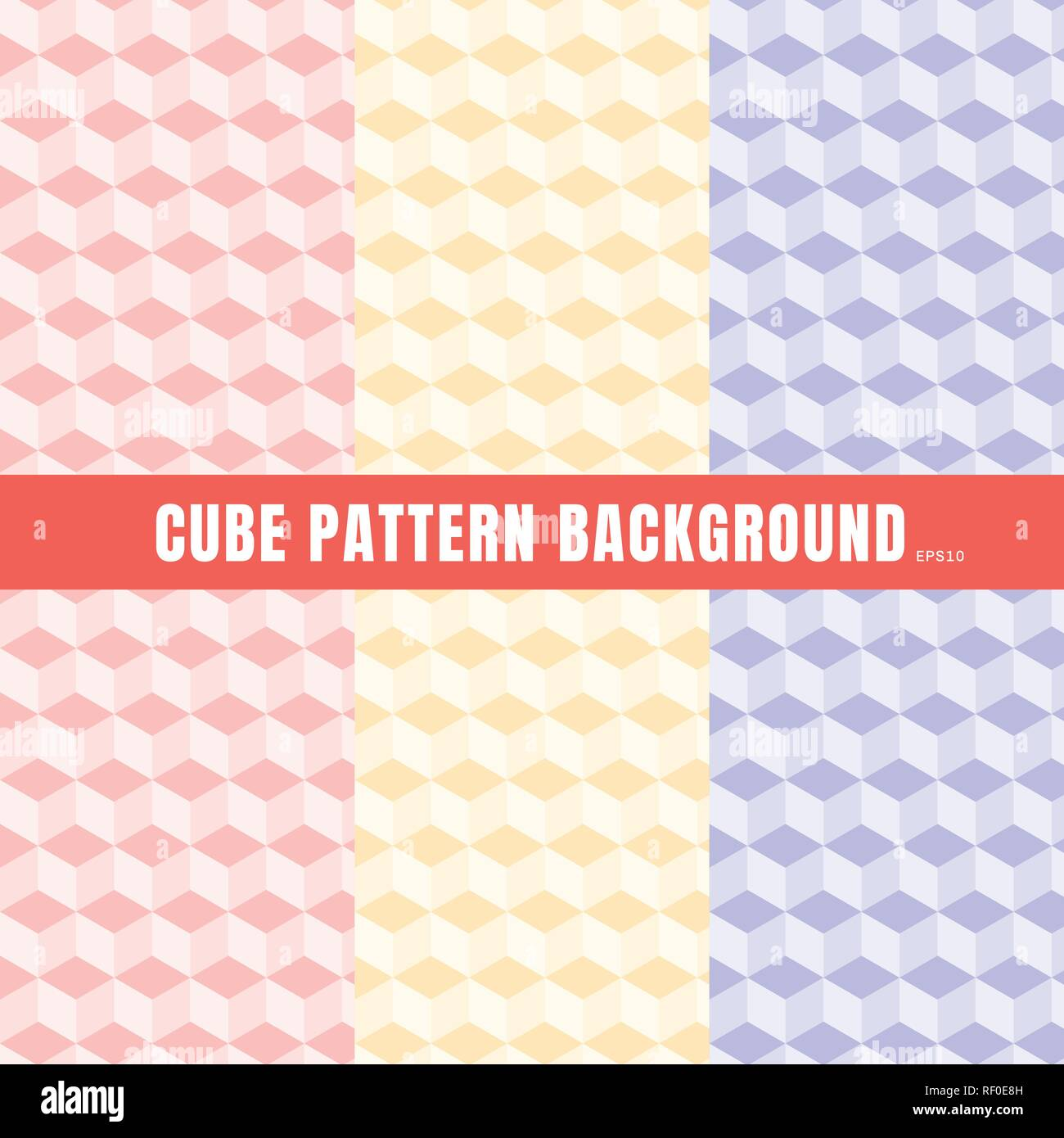 set of cube pattern pink purple yellow color background and texture geometric 3d wallpaper pastels colour vector illustration RF0E8H