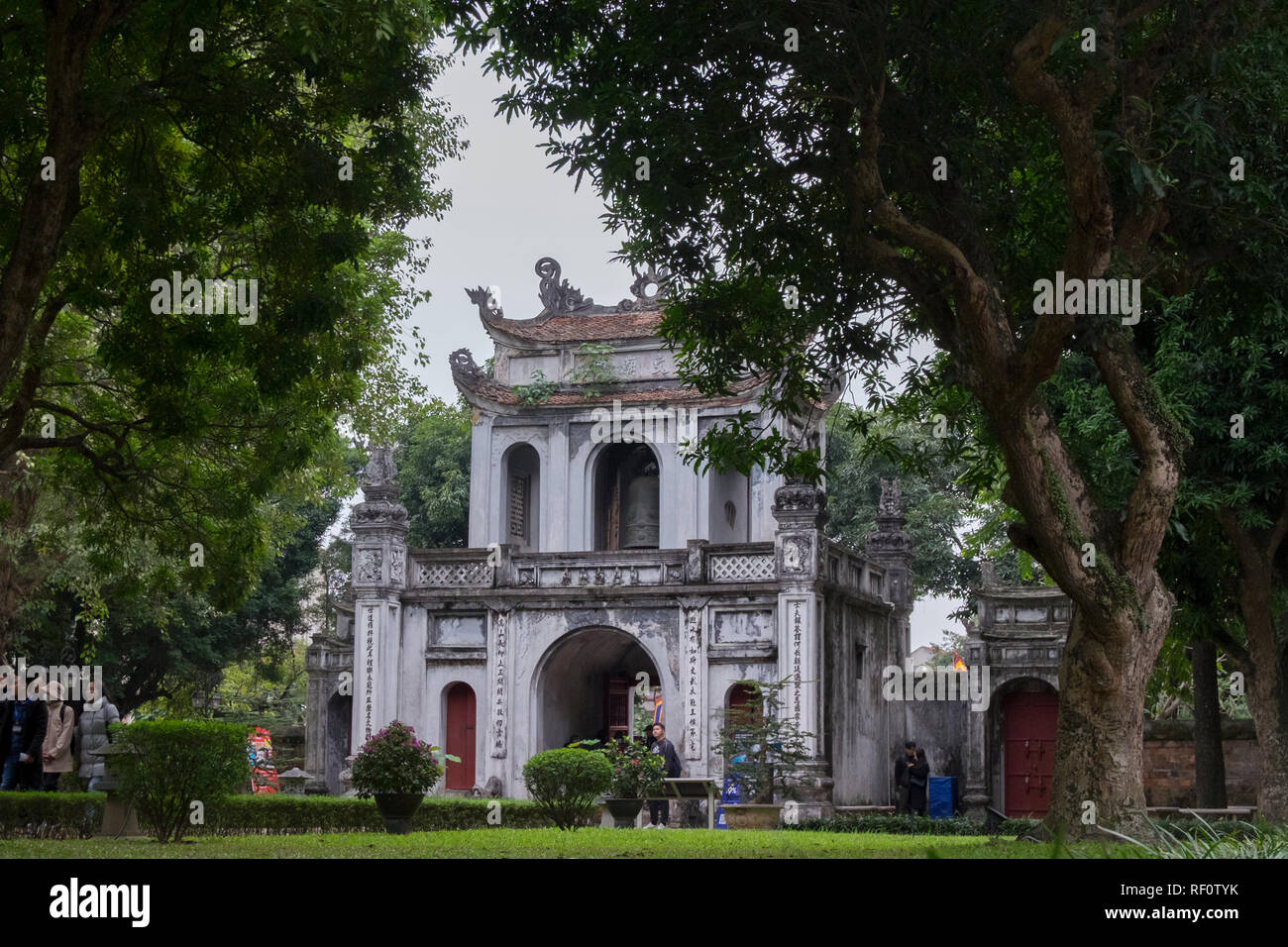 Looking at the back of the entrance gate at the Temple of Literature in Hanoi, Vietnam. Stock Photo