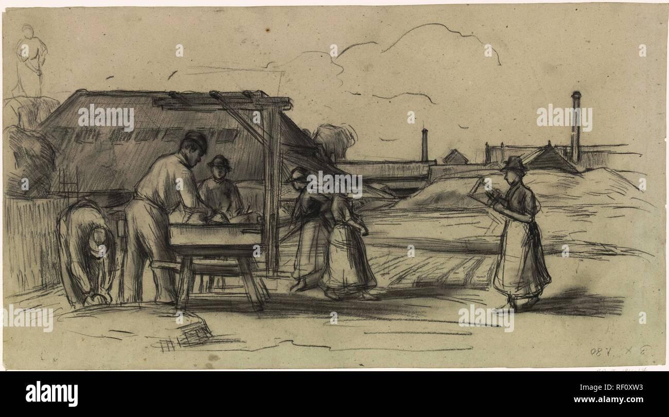 The brick factory. Draughtsman: Anthon Gerhard Alexander van Rappard. Dating: 1868 - 1892. Measurements: h 322 mm × w 587 mm. Museum: Rijksmuseum, Amsterdam. Stock Photo