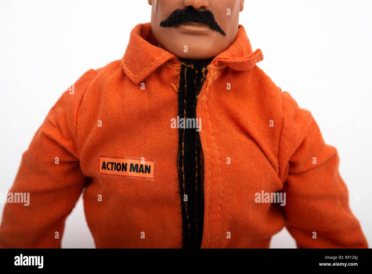 Action Man with homemade moustache - Stock Image