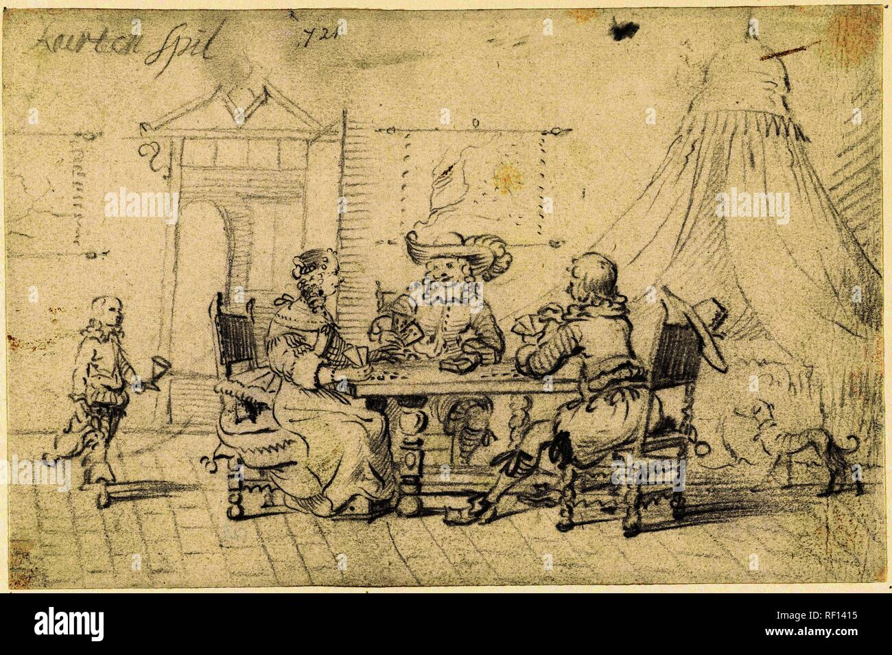 Interior with card players and a servant. Draughtsman: Gesina ter Borch.  Dating: