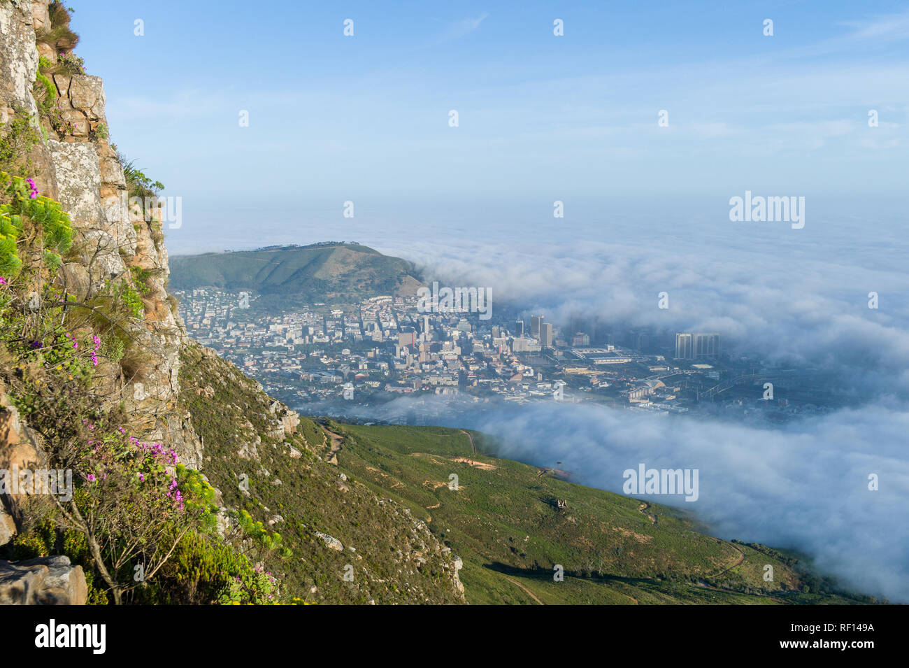 Devil's Peak is a popular hiking destination for residents and tourists in  Table Mountain National Park, Cape Town, Western Cape, South Africa - Stock Image