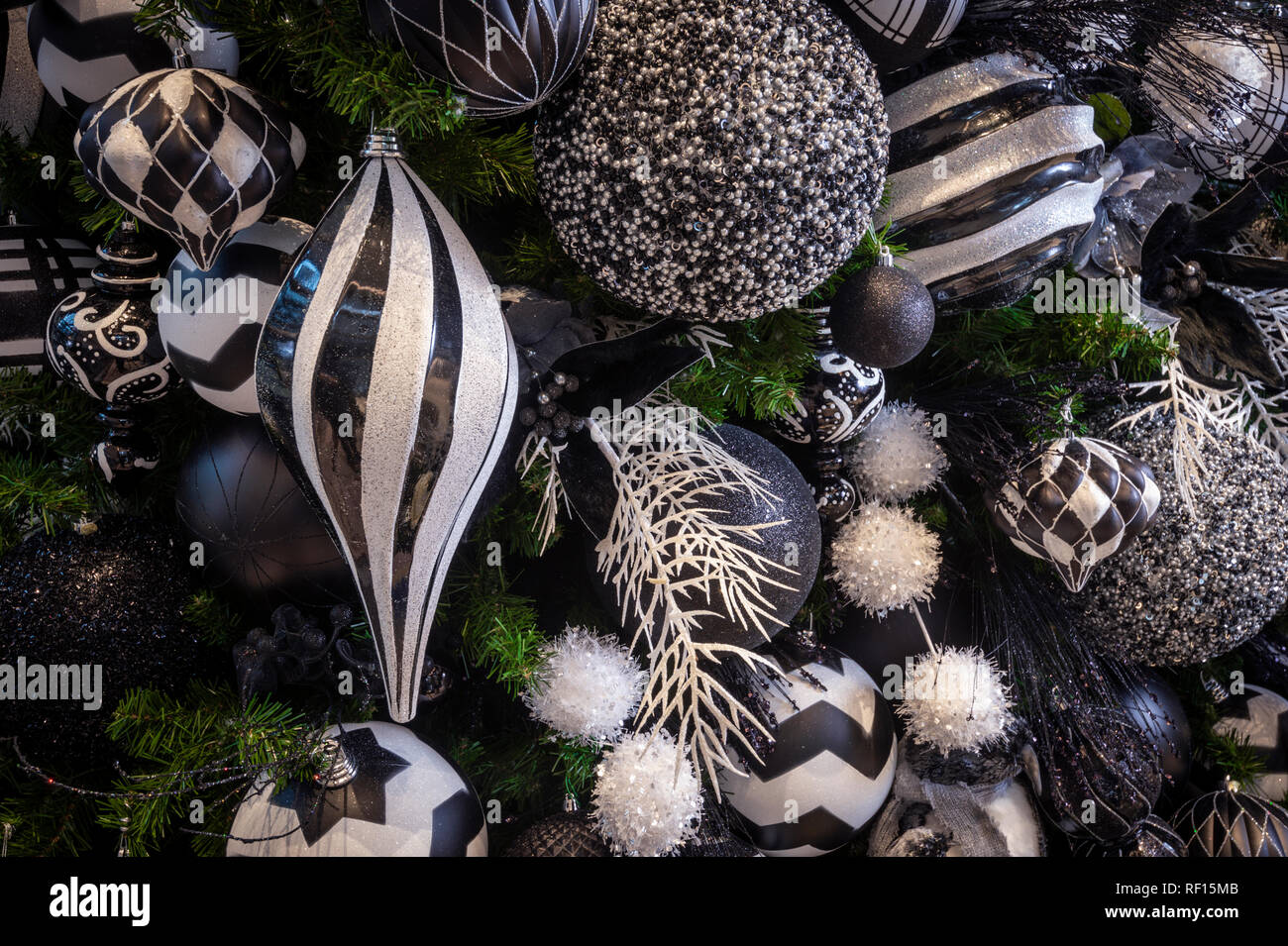 Ornate Christmas Tree Decorations Detail - Stock Image