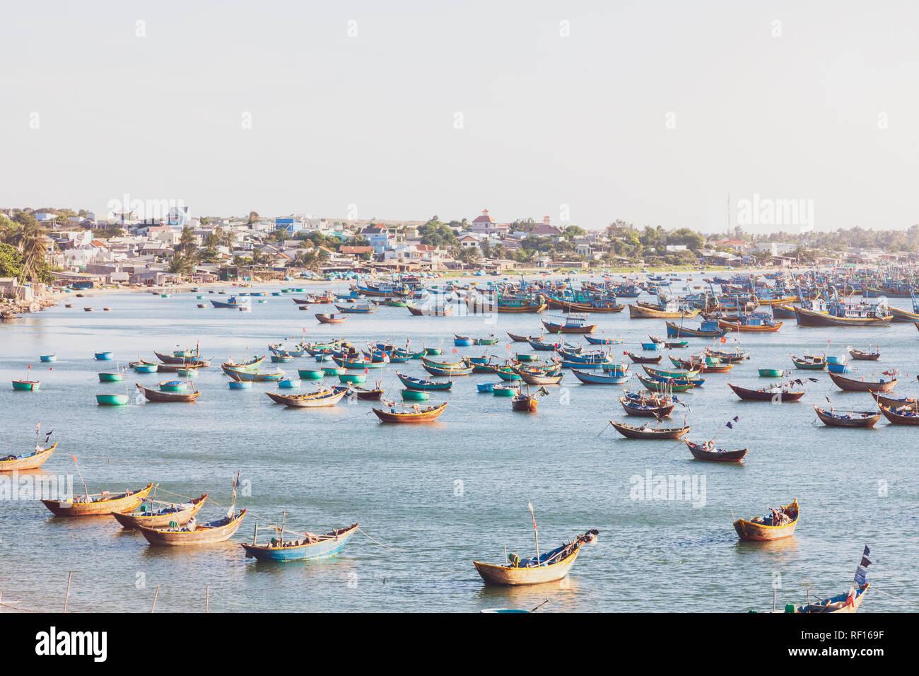 Vietnam, Mui Ne, fishing village, fishing boats - Stock Image