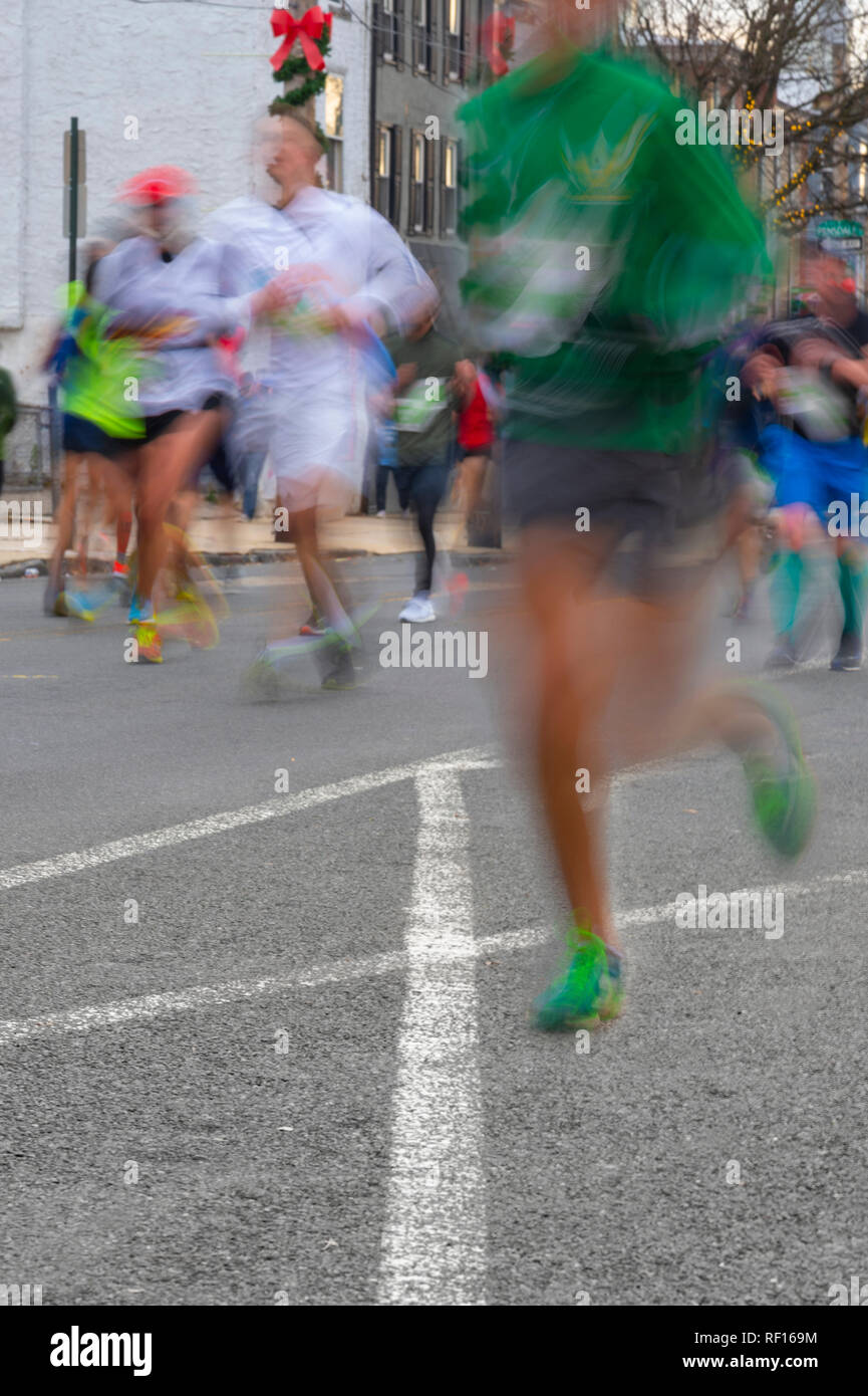 Blurry Runners In 2018 Philadelphia Marathon - Stock Image