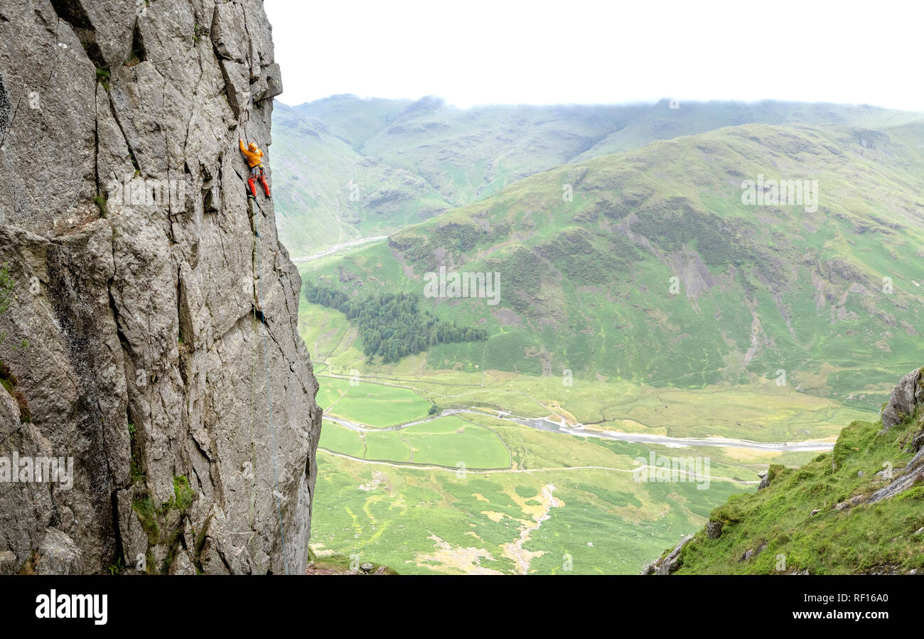 United Kingdom, Lake District, Langdale Valley, Gimmer Crag, climber on rock face Stock Photo