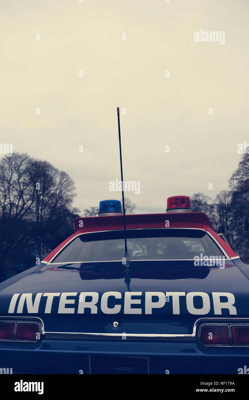American Police 'Interceptor' car at Bicester Heritage Centre 'Scramble'. - Stock Image