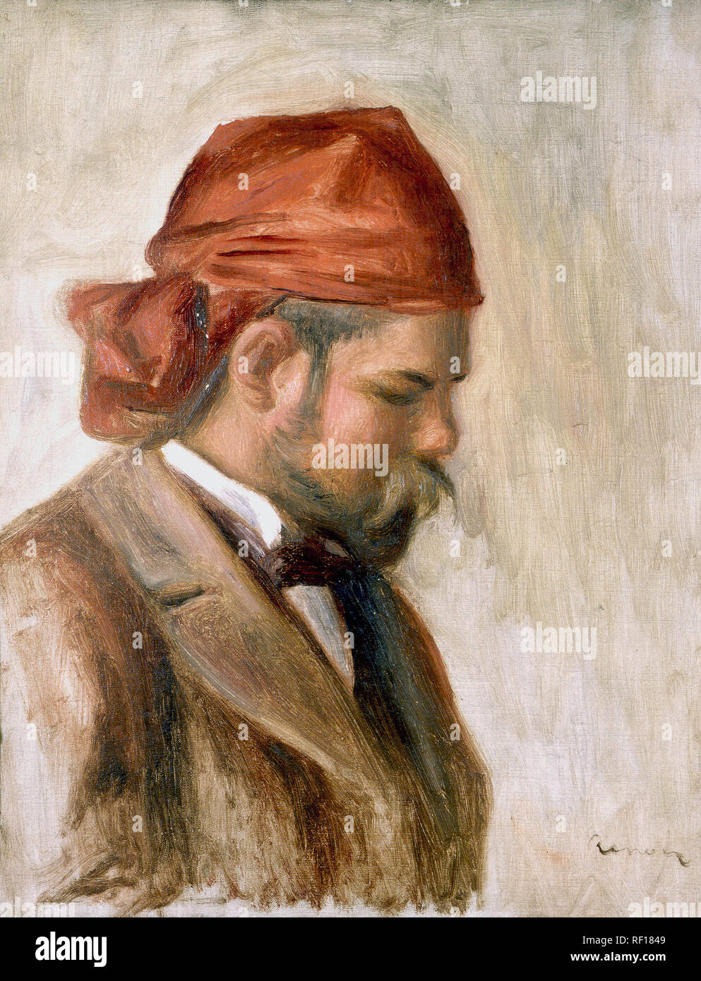 Ambroise Vollard in a Red Scarf  *oil on canvas  *30 x 25 cm  *ca 1899  *signed b.r.: Renoir - Stock Image