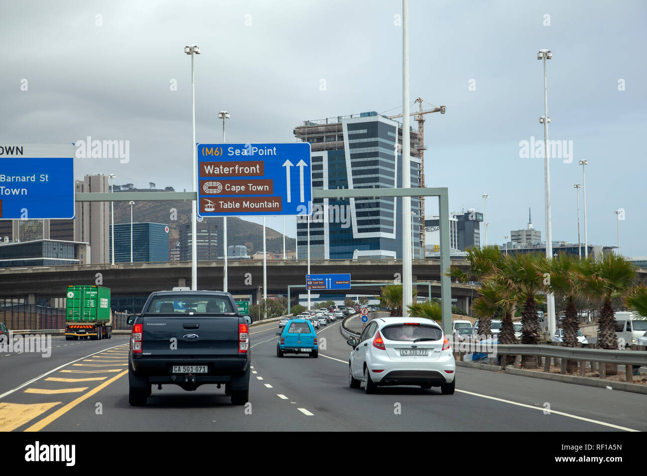 N1 Highway Into Cape Town City, South Africa - Stock Image