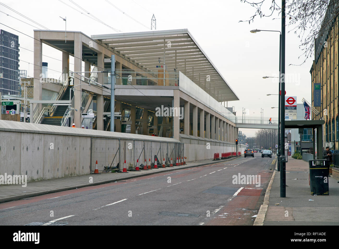 The new Elizabeth line station at Custom House in east London. - Stock Image