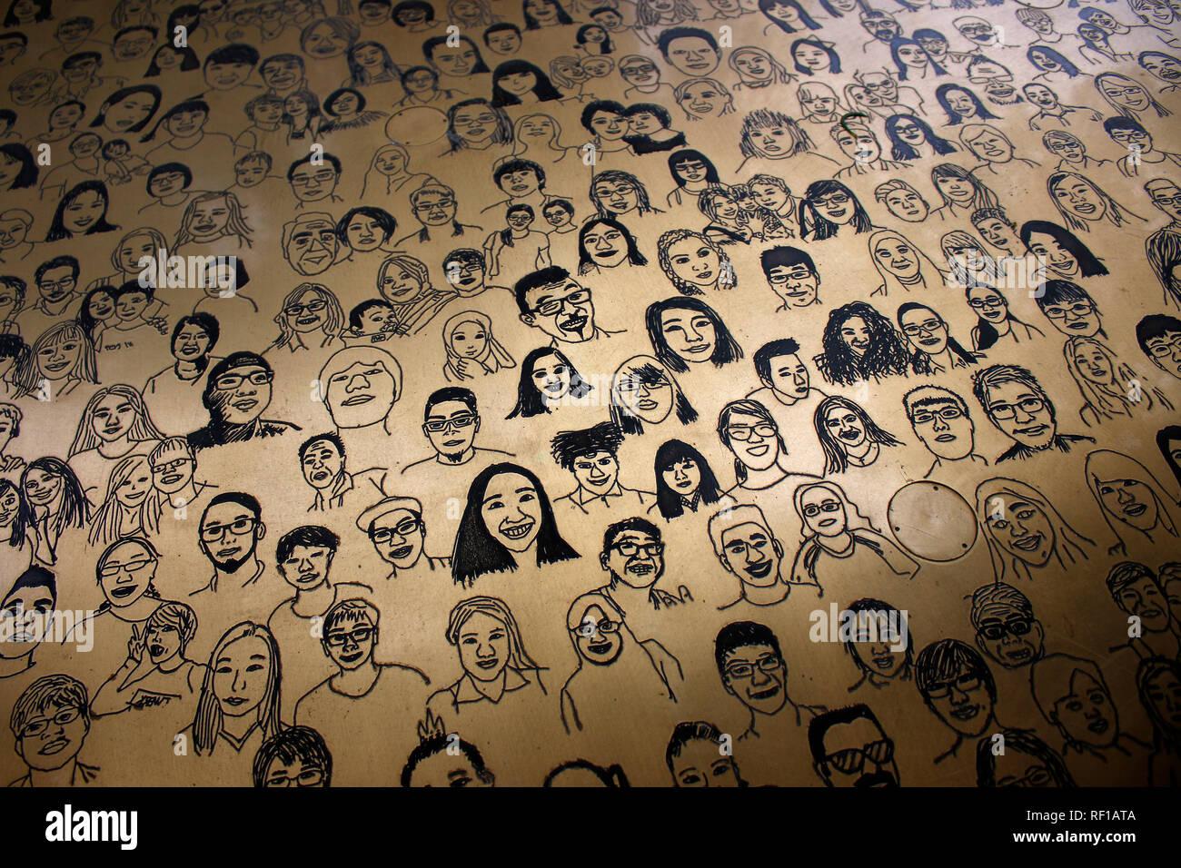 Kunst-Installation, die die ethnische Vielfalt Singapurs darstellt, Singapur (nur fuer redaktionelle Verwendung. Keine Werbung. Referenzdatenbank: htt - Stock Image