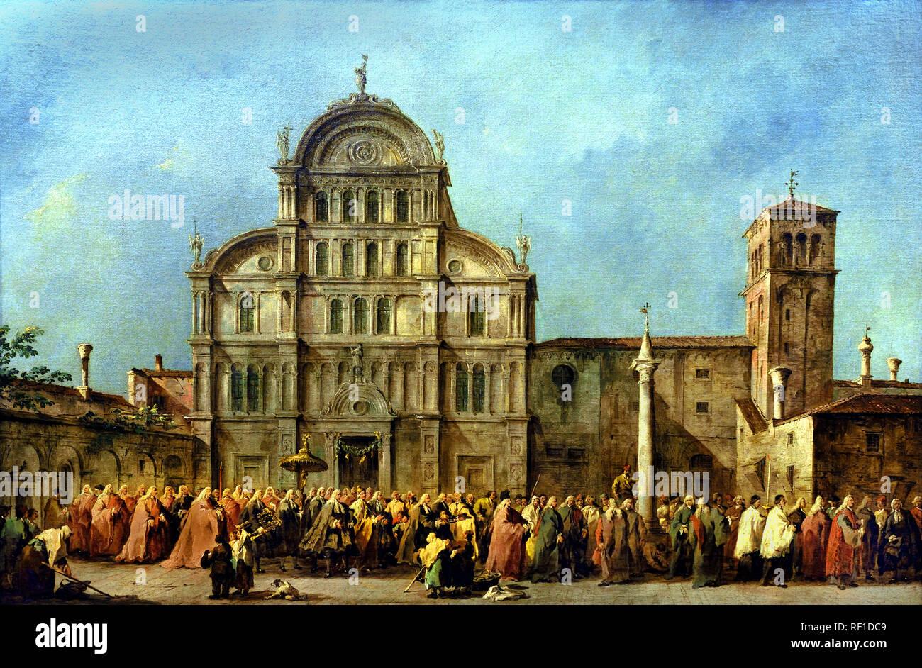 The Procession of the Doge of Venice at San Zaccaria  c. 1775–80, Francesco GUARDI, 1712 – 1793, Venice, Venetian, Italy, Italian, Stock Photo