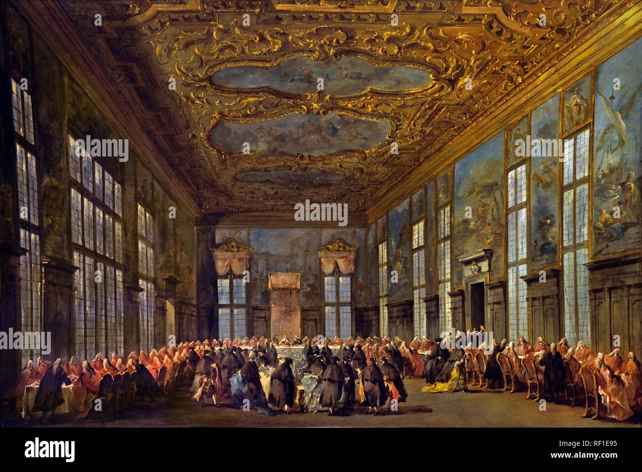 The Doge of Venice Giving a Banquet for the Ambassadors  1775–80  Francesco GUARDI, 1712 – 1793, Venice, Venetian, Italy, Italian, ( Sala del Collegio in the Doge's Palace ) Stock Photo