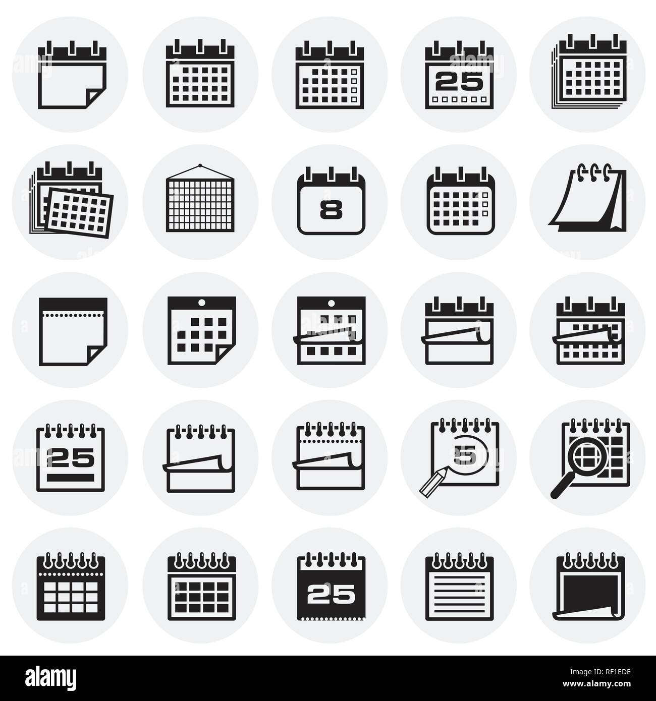 Calendar icon set on circles background for graphic and web