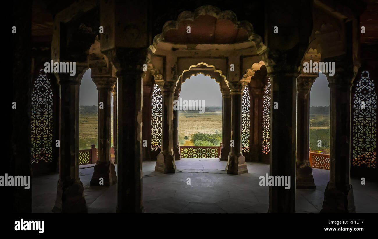 White marble interior rooms at palaces inside Agra Fort fortress UNESCO heritage site in Agra,  Uttar Pradesh, India. Stock Photo