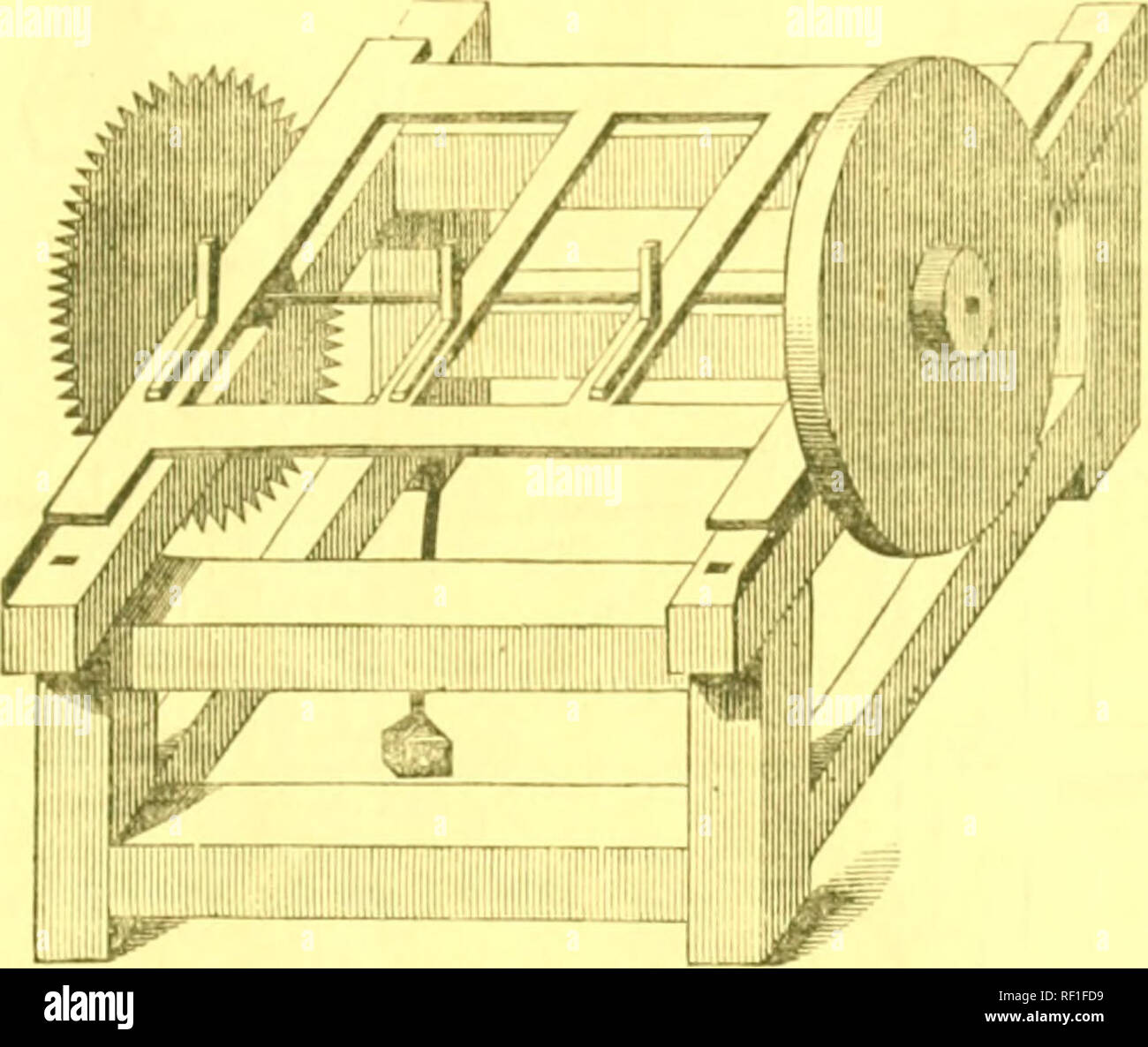 . Catalogue of agricultural and horticultural implements ... APPENDi:?. Wood-Sawing Machine for CuTTrrjH Fuel. 107. The subjoined cut showsa machine in gen- i-ral use for sawin<j;  ood. It is easily driv- (M by a one-horse chain power, and is capable of sawing sev(;ral cords of wood per day. 11 is simple and easily worked and kept in or- der. Others, of larger di- mensions, are used for slitting plank, boards, Fig. 157. scantling, &c. For this purpose, a different saw is required than when used for cutting across the grain. For the last purpose, the teeth are triangular ; for the form - Stock Image