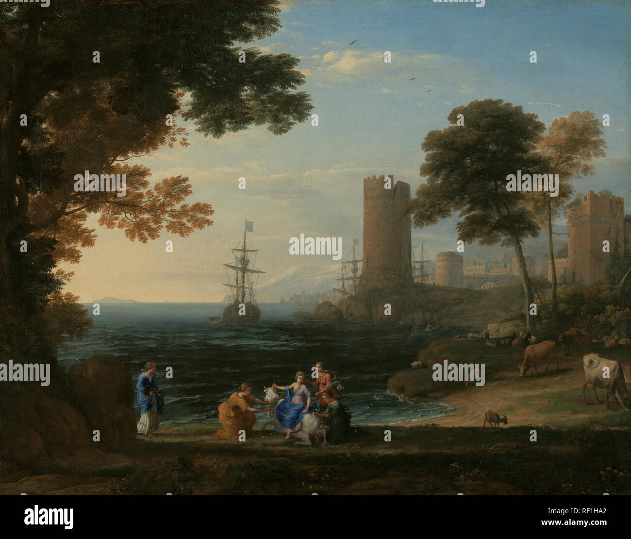 Coast View with the Abduction of Europa; Claude Lorrain (Claude Gellée) (French, 1604 or 1605 ? - 1682); Rome, Italy; 164(5)?; Oil on canvas; 96.2 × 167.6 cm (37 7/8 × 66 in.); 2007.32 - Stock Image