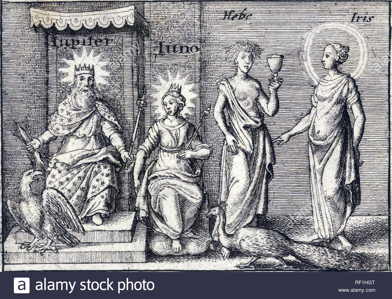 Roman gods Jupiter and Juno and Greek Gods Hebe and Iris, etching by Bohemian etcher Wenceslaus Hollar from 1600s - Stock Image