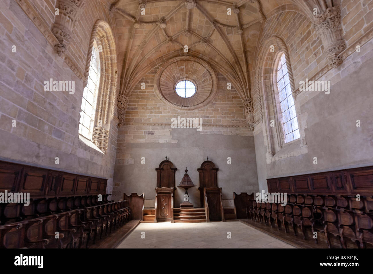 High choir and ribbed vaulting, Convent of Christ, Tomar, Portugal - Stock Image