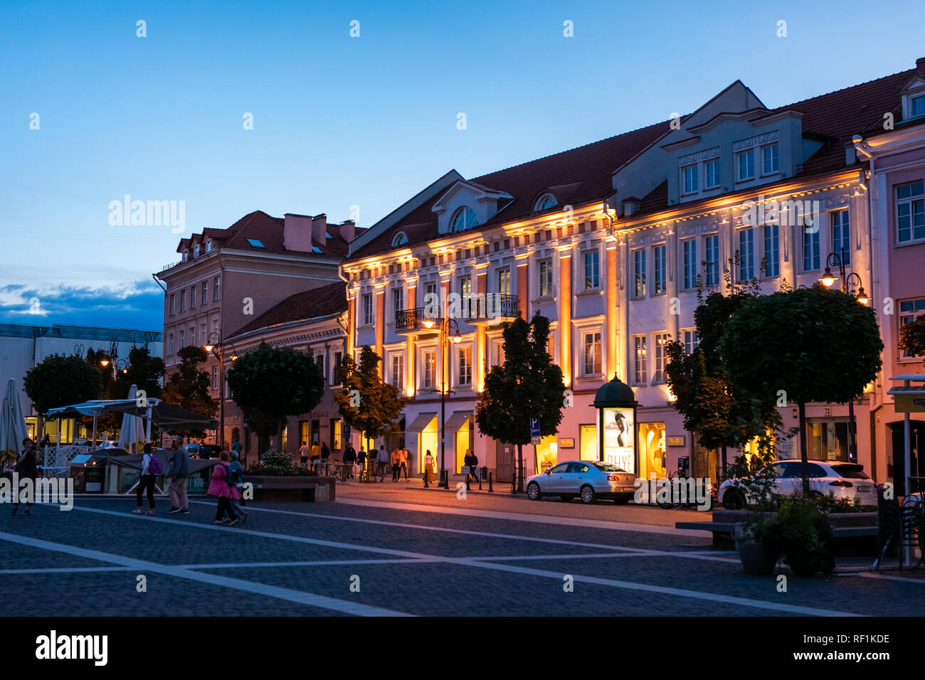Town Hall Square in Old Town at night of Vilnius, Lithuania, Baltic states. - Stock Image