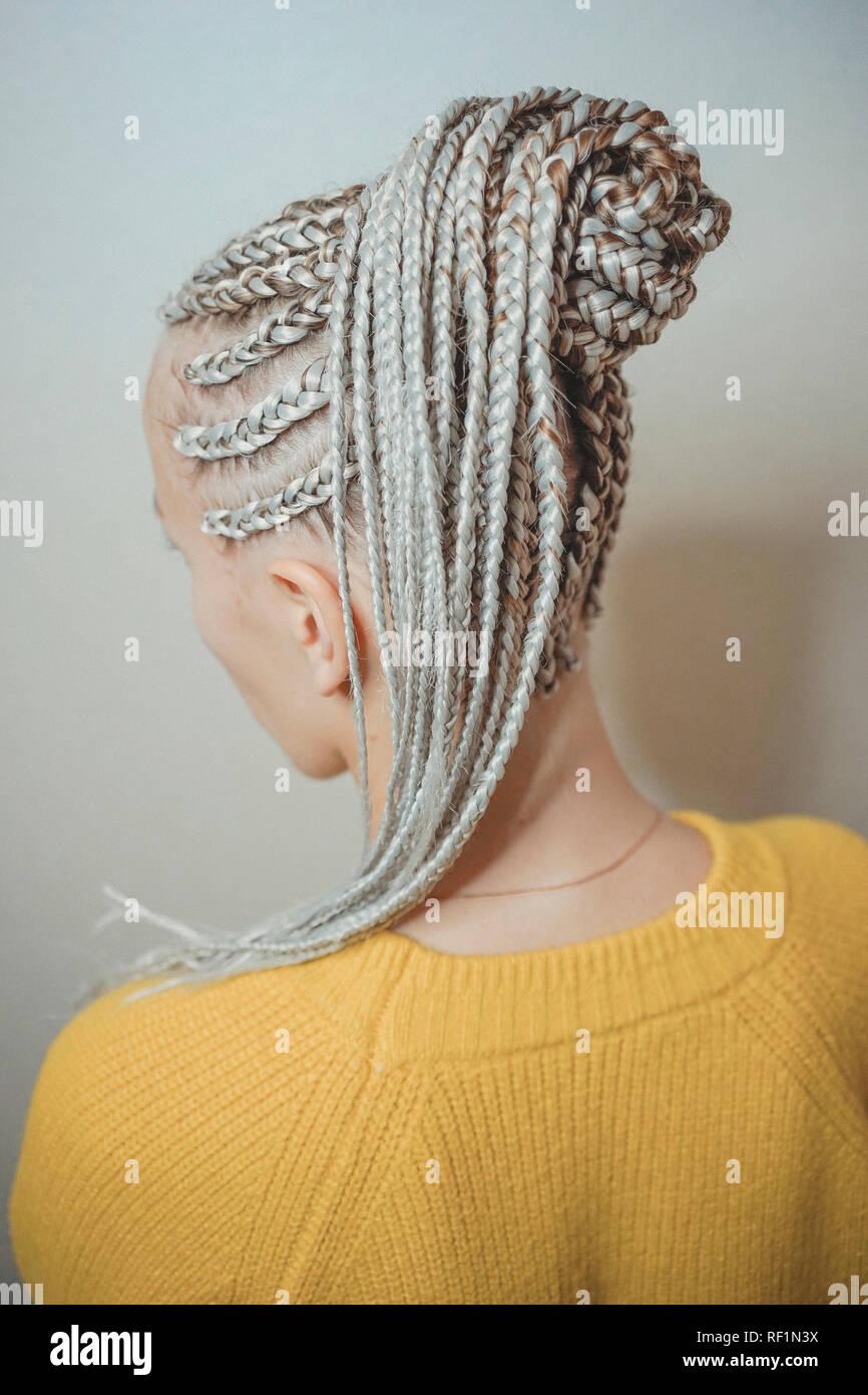 braids with interlacing kanekalon - Stock Image