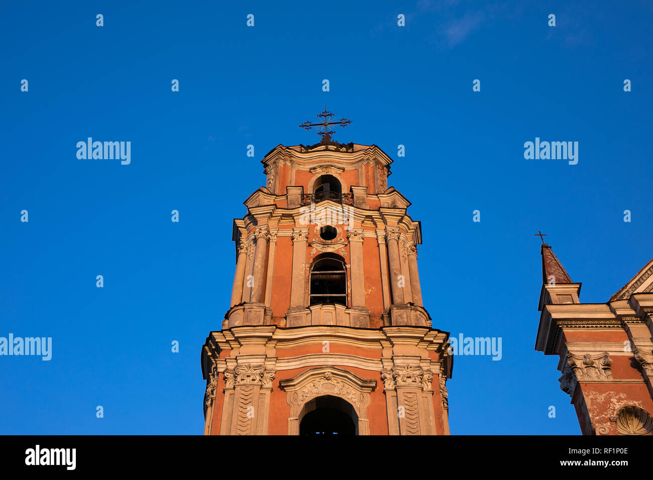 Church in Old Town at night of Vilnius, Lithuania, Baltic states. - Stock Image